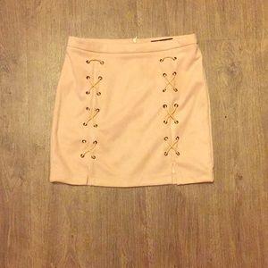 Blush Slit Lace Up Faux Suede Skirt